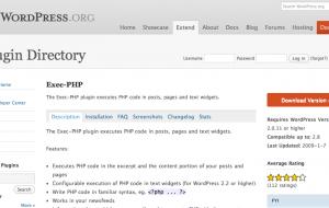 [Web] WordPress : Exec-PHP, une extension pour exécuter du Php dans vos Widgets, Articles et Pages