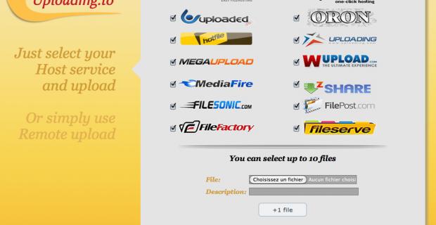 Uploading.to, uploader vos fichiers sur plusieurs hébergeurs de fichiers en même temps !