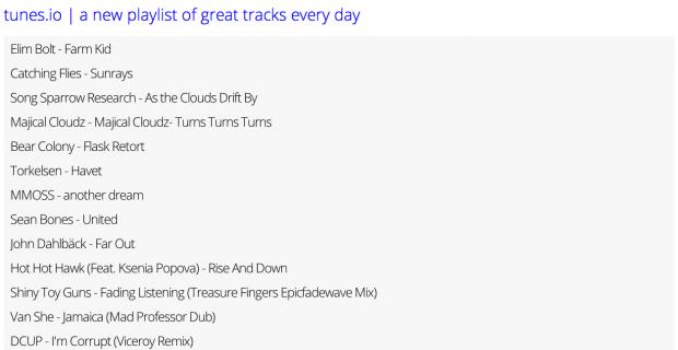 Tunes.io, une nouvelle playlist tous les jours !