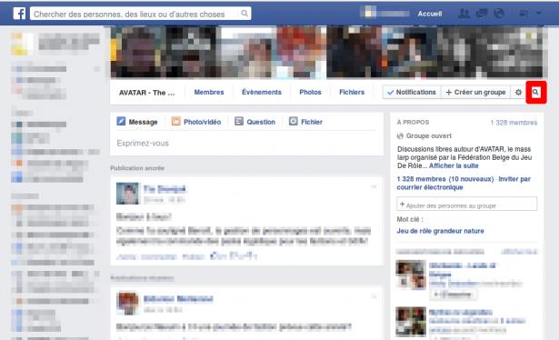 Cliquer en haut à droite sur la loupe de votre groupe Facebook