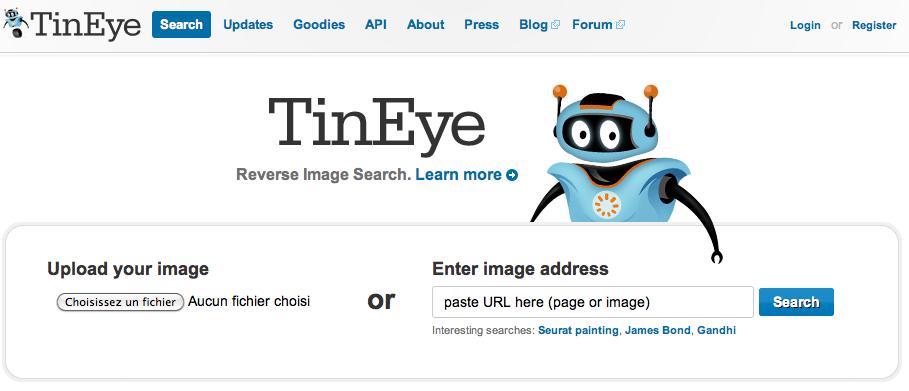 TinEye, moteur de recherche d'images inversé